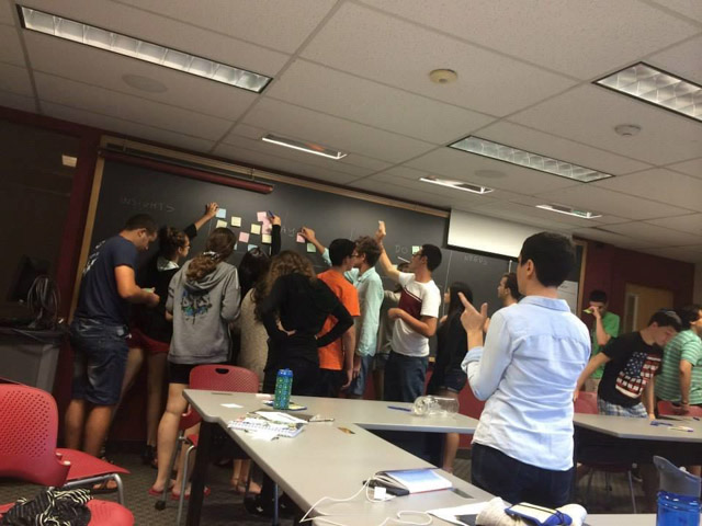 Business Program students collaborate on a project. Photo courtesy: Brandeis University High School Programs.
