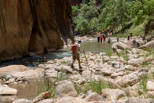 Teen hiking in The Narrows trail in Utah on our family trip